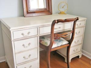 Mahogany desk -antique white SOLD
