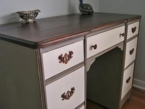 GREY AND WHITE MAHOGANY DESK