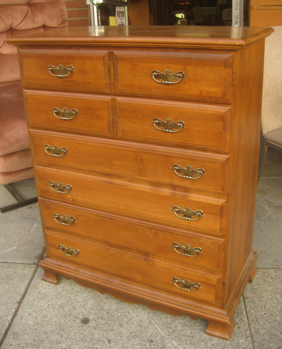 tiger maple wood chest of drawers dresser bedroom furniture