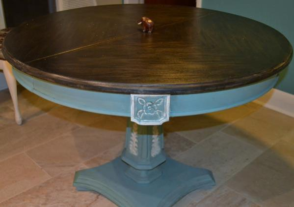 Table with walnut top and base that was painted with Provence and white