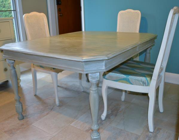 Table painted with Chateau Grey and a white wash